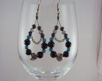 Hoop Earrings with Bright Blue & Dark Grey Glass Pearls and Crystals