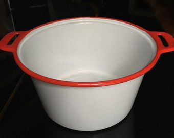 White Enamelware Pot with Red Trim