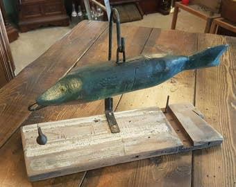 Primitive wooden fish lure decoy