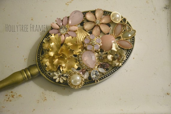 Jeweled Gold Hand Mirror with Repurposed Vintage Brooch and Earring, Pink Flowers, Pearls, Vanity Decor