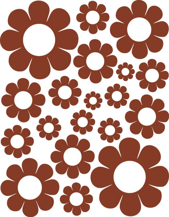 38 Brown Daisy Vinyl Shaped Bedroom Wall Decals Stickers Daisies Teen Kids Baby Nursery Dorm Room Removable Custom Made Easy to Install