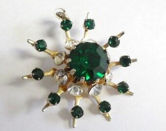 Vintage Snowflake Atomic Burst Emerald Green Rhinestone Pendant
