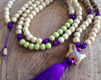 Extra long necklace, wooden bead necklace, butterfly necklace, violet tassel necklace, bohemian necklace, 108 bead necklace, yoga jewelry