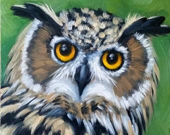 Owl print - Great horned owl - owl painting - bird painting - fine art print - birds of prey