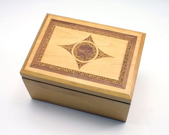 Chip carved box inlaid wooden walnut inlay wood