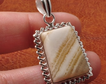 Natural Botswana Agate sterling silver pendant  (#J1716)