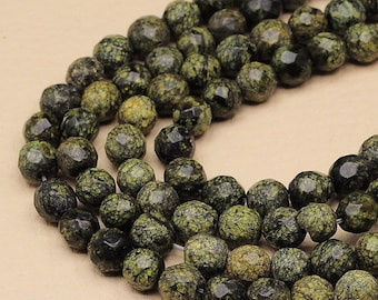 1 Strand of 8 mm round faceted Russian Serpentine beads   (#J1701; J1482)