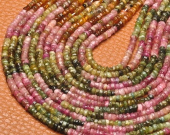 1 Strand of 3mm-4mm rondelle Tourmaline  beads   (#J1479)