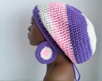 Crochet Rasta Tam, Hat, Cap with Drawstring and Earrings, Women's Dreadlock Pink and Purple Large Slouch Hat, Dreadlock Tam and Earrings