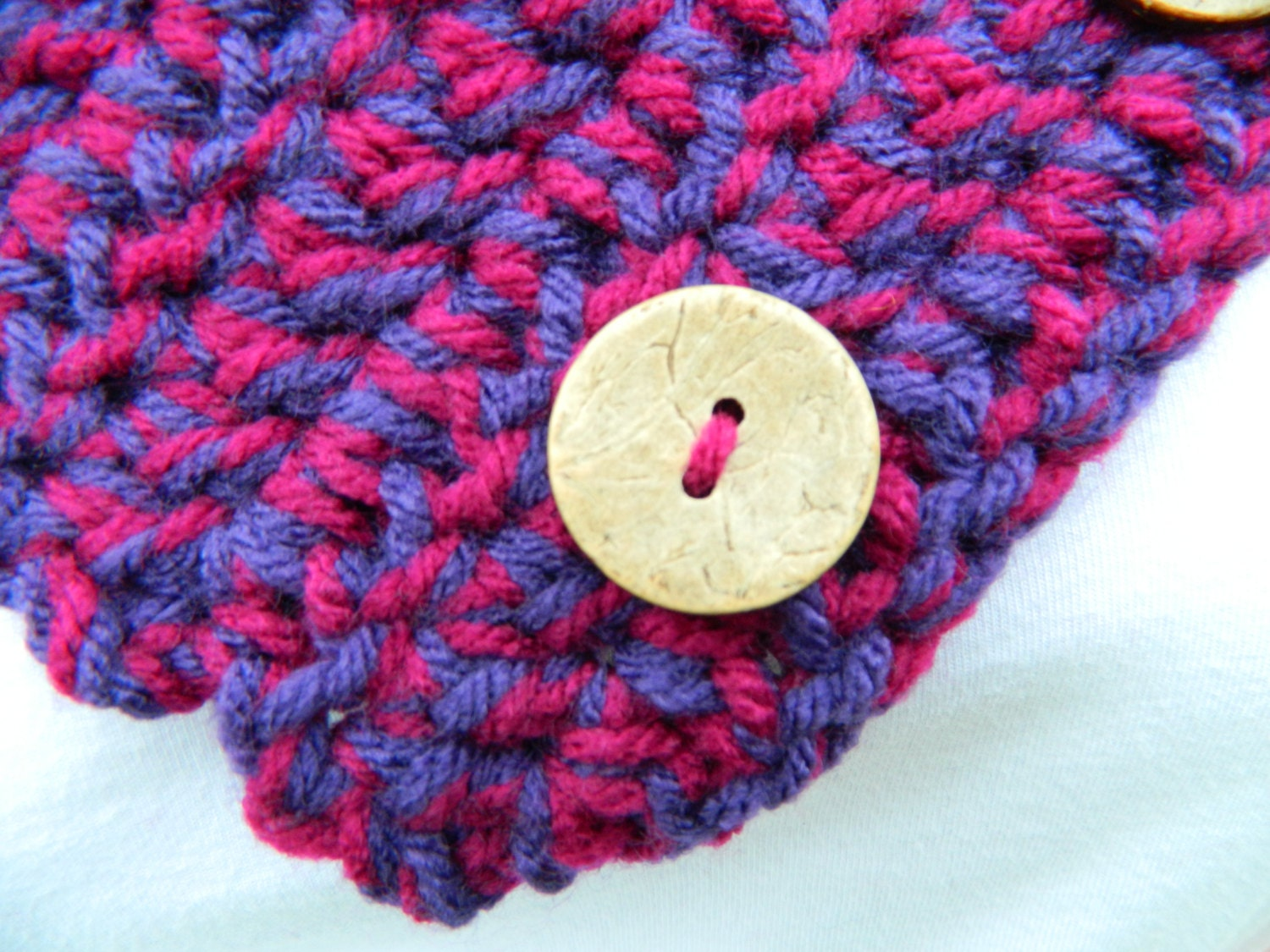 Purple Crochet Cowl Scarf, Colorful Boston Harbor Scarf, Button ...