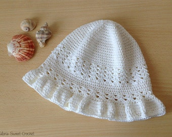 """Summer hat """"Wanna"""", made in crochet in pure cotton."""