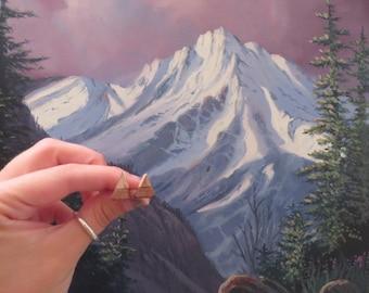 Mini Wooden Mountain Earrings