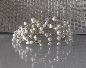 Freshwater Pearl and Crystal Tiara, available in white or ivory pearls, gold or silver wire