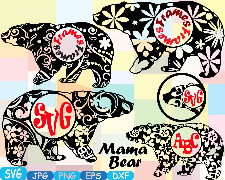 Mama Bear Circle Mascot Frames Jungle Animal Safari Flower