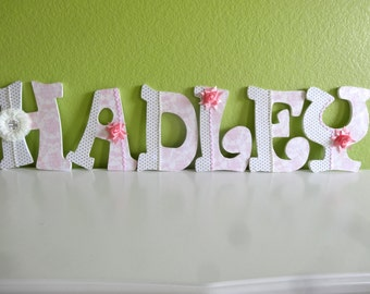Baby Wooden letters, Match bedding, Nursury Decor, Choose Color, Theme and Pattern