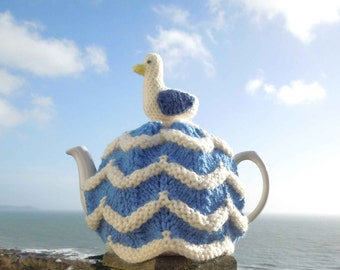 Hand made in Cornwall, nautical seagull knitted tea cosy for your teapot. Cornishware. Fits 2 pint, 4-6 cup pot. Cornish gifts teacosies