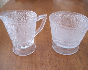 Vintage pressed glass sugar and creamer