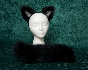 Child's Black Faux Fur Wolf Tail and Ear Set