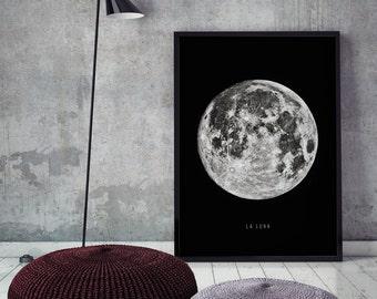 Moon Art print, Moon Poster, La Luna Art Print, Modern Wall Decor