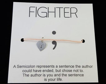 Semicolon Bracelet, Semi-colon Wish Bracelet, Heart Semi Colon, Fighter SemiColon, Metal Health Awareness, Depression Bracelet, hand stamped