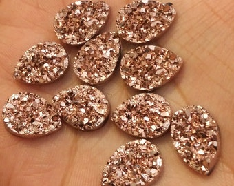 rose gold chunky faux druzy 10x14mm teardrops 8 pcs (E5:10-226)