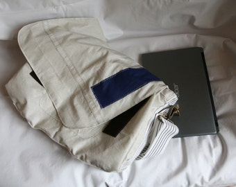 Messenger bag Blue White Number 1  Reconstructed Recycled Man Women Christmas Present