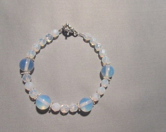 Opalite and Sterling silver Beaded bracelet
