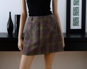 Mini-jupe CORINNE SARRUT tartan carreaux laine taille 42/Vtg mini plaid skirt uk 14 / US 10