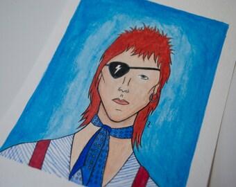 Watercolor Ziggy Stardust Bowie - Original Art