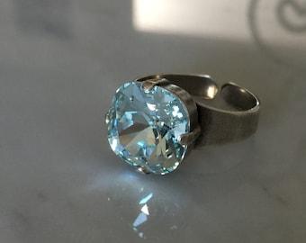 Swarovski Light Azore Ring, Blue Crystal Ring, Swarovski Light Azore Crystal Ring