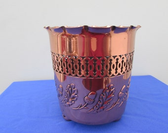 J.S.&S. Sankey Copper Planter Plant Pot  Acorn Oak Relief Arts and Crafts **RESERVED ** SOLD**