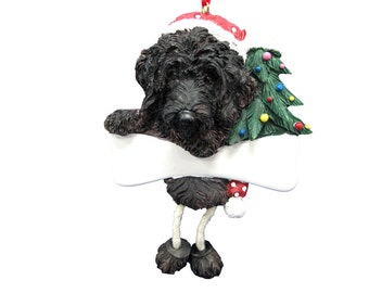 """Labradoodle Ornament Personalized with your Dog's Name, Hand Painted with a brush, Measures 5 1/2"""" tall by 3 1/2"""" wide"""