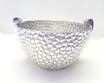 Silver Plated Tall Oval Bowl with Quilted Design