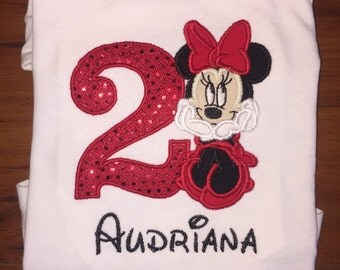 Minnie Mouse Inspired Birthday Shirt (Red) - Any Age/Name