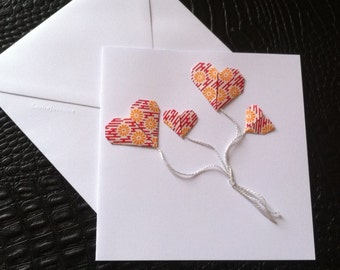 Greeting card, origami heart