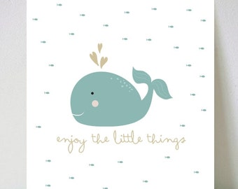 Blue ENJOY LITTLE THINGS boys wall art, kids printable wall art with inspirational quotes