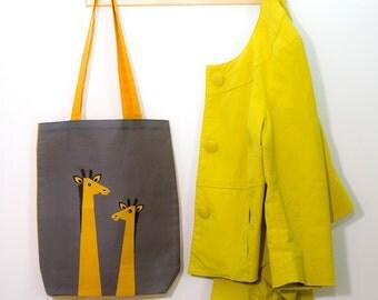 Giraffe Tote Bag, Kids Book Bag, Giraffe School Bag, Yellow & Dark Grey Tropical Bag, Jungle Animal Tote, Giraffe Scandinavian Shopping Bag