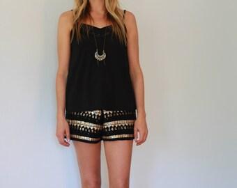 Beaded & sequin embellished shorts