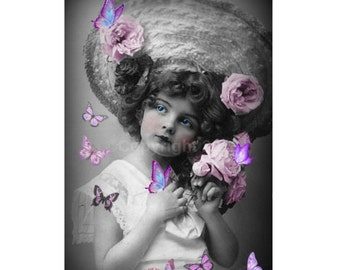 Girl Butterfly Digital Collage Vintage Victorian Child Ephemera Altered Art Instant Download  Printable  Image Digital Photo