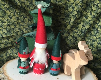 Santa and His Elves Peg Gnomes For Waldorf Nature Table and Play