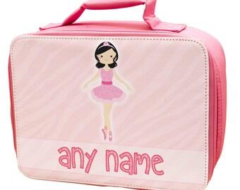 Pink Personalised Teen Ballerina 2 Lunch Bag - school - kids - children -girls