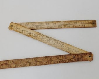 Vintage Folding Yard Stick, collapsible yard stick ruler, Collectible Measuring Tools, Bening Real Estate & Construction Company