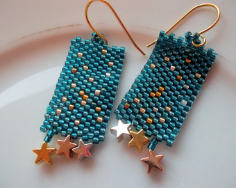 Peyote earrings Dangle earrings golden stars beadwoven earrings gold plated Peyote Toho Beads little stars