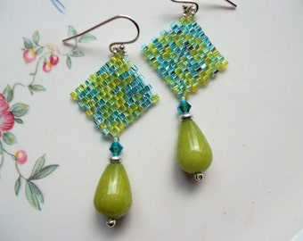 Peyote earrings beadwoven earrings green toho beads sterling silver earrings, pendant earrings