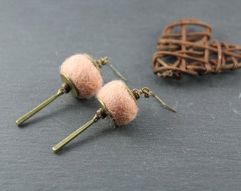 long earrings, candy- pink felted wool, coconut, bronze colored metal charm