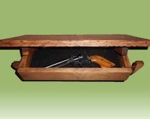 Wood Wall Shelf Hidden Compartment Gun Safe Jewelry Cabinet Storage