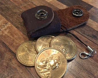 Leather Coin Purse Keychain Golden Dollars Edition