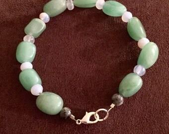 Green Aventurine and Chalcedony Wire Bracelet