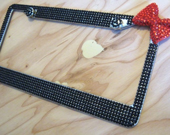 Black Color Bling Rhinestone Standard License Plate Frame w/ Red Bow and 2 Caps