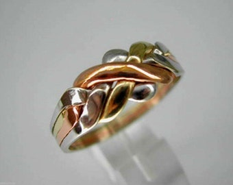 9k  tricolored solid gold 4 band puzzle ring
